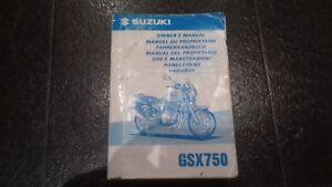 Suzuki Motorcycle Owners's Manual Handbook GSX750 AUGUST, 1997