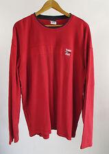 Tommy Jeans Hilfiger XXL Mens Red Ribbed Flag Logo Long Sleeve Sweatshirt 2XL