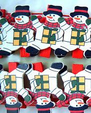 Tarjeta de Navidad pinzas, paquete 20 madera muñeco nieve decoración Soporte