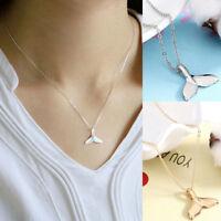 Retro Women Whale Tail Fish Nautical Charm Mermaid Tail Pendant Necklace Jewelry