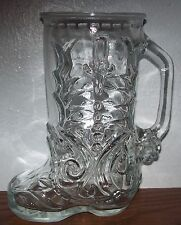 VINTAGE LIBBEY OF CANADA CLEAR GLASS BOOT BEER MUG/STEIN