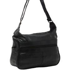 Womens Leather Handbag Mid Size Hobo Shoulder Bag Purse Tote W Multi Pockets New