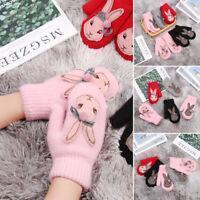 Girls Warm Winter Wool Mittens Rabbit Hair Winter Glove Cartoon Rabbit Gloves