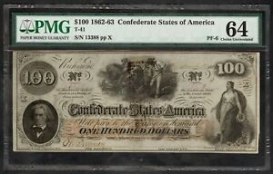 $100 Confederate States Note – Charleston, SC – PMG Choice Uncirculated 64