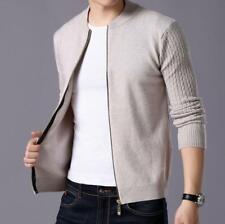Мужские корейский на молнии приталенная свитер вязаный жакет трикотаж верхняя одежда пальто круглый вырез