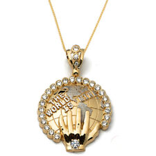 Real 10K Yellow Gold Round Charm Pendant World is Mine Globe Earth