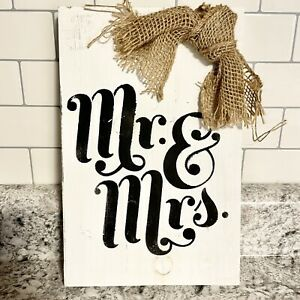 Mr and Mrs Wooden Sign - Black and White
