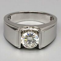 Men's Engagement Wedding Ring Band 2.50Ct Round Cut Diamond Solid 14K White Gold