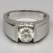 Men's Engagement Wedding Ring Band 2.51Ct Round Cut Diamond Solid 14K White Gold