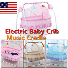 Electric Safe Auto-Swing Baby Crib Cradle Infant Rocker Cot+ Mat+Remote Us Ship