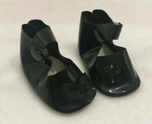 """Vintage Doll Shoes Black Faux Patent Leather Snap Closure 2 1/4"""" L x 1 1/8"""" W"""