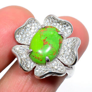 Copper Green Turquoise & Cz Gemstone 925 Sterling Silver Ring s.Ad S2652
