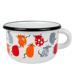 8.5 fl oz Cats Enameled Mug Picnic Camping Kids Teacup Mug Durable Sturdy Light