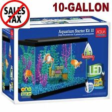 Aquarium Kit 10 Gallon Fish Tank Aquarium Fish Tank Led Light Hood Filter Clear