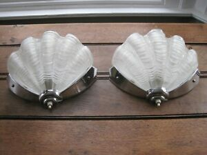 Beautiful Pair of Art Deco Odeon Glass Clam Shell Wall Lights A3