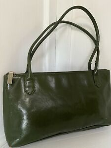 "VTG HOBO International Dark Army Green Lightweight Leather Bag L 12.5"" X H 6.5"""