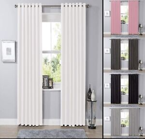 Thick Thermal Blackout Ready Made Eyelet Ring Top Pair Curtains Panel