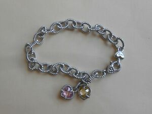 """Judith Ripka Sterling Silver pink and Yellow Quartz double charm Bracelet 7.5"""""""