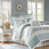 BEAUTIFUL CHIC COTTAGE COZY BLUE GREEN WHITE  RUFFLED DUVET COVER SET KING QUEEN