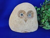 Garden Statue HOOT OWL Real Stone Carved Handmade UNIQUE One of a Kind  6h x 7w