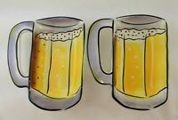 Clay Art Beer Bowl Chips Crackers Serving Tray C.A. Ceramic Set of 2 Man Cave