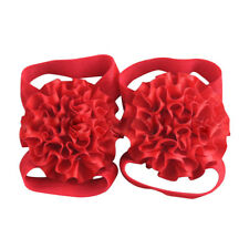 Baby Girl Ribbon Flowers Barefoot Sandals Shoes X8p5 Red