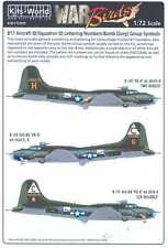 Kits World Decals 1/72 B-17 ID LETTERS NUMBERS & BOMB GROUP SYMBOLS GRAY