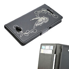 Book Flip Phone Leather Skin Pocket Stand Flip Cover Case For Sony Xperia E4