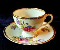 """FOLEY TULIP"" E. BRAIN Footed Cup & Saucer English Bone China Gold Trim"