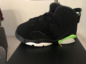 Nike Air Jordan Retro 6 VI Electric Green and Black Toddler Size 10c 384667 003