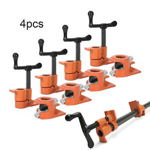 """3/4"""" GLUING PIPE CLAMP 4 Pcs WOODWORKING VICE TOOLS Wide Surface protect Pads"""