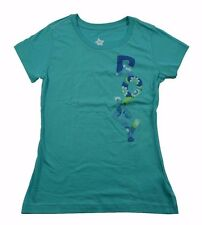 Roxy STAND TALL Jade Blue White Green Screenprint Short Sleeve Junior's T-Shirt