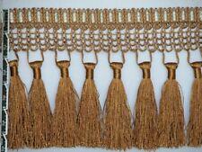"5 1/2""Luxury Net Tassel Fringe Trim Antique Gold Per Yard"