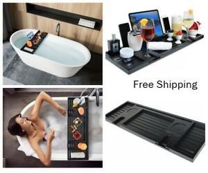 New, Wood Black Bamboo Bathtub Caddy/Bath Serving Tray for 2, Luxury Bath
