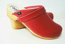 WOMENS RED BOHO SWEDEN HANDMADE CLOGS WOODEN SOLE 100% UPPER LEATHER OUTDOORS