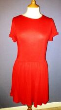 boohoo red jersey dress with full skirt