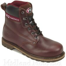 V12 Safety Work Boots Boulder Steel Toe Cap Mahogany Leather Safety Boots V1236
