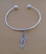 925 Sterling Silver Screw End Torque Bangle 63 mm & 2.5 mm Thick & Feather Charm