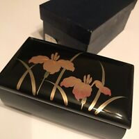 Aizu Lacquer Jewelry Trinket Mirrored Music Box Red Velvet Lining Footed 3½ x 6¼