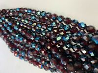 Beads Faceted Round  Czech Glass Ruby ab  8mm 300 beads lot