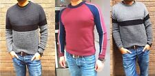 Mens BOYS Designer Jumper CHUNKY CABLE Knitted Crew Neck Sweater