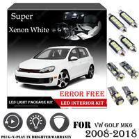 11x For VW GOLF MK6 2008-2018 Xenon White 6K Car Interior LED Light Package Kit
