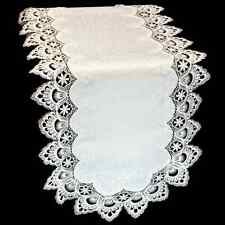 """White Lace on White Embossed Table Runner or Dresser Scarf 16"""" x 70"""""""