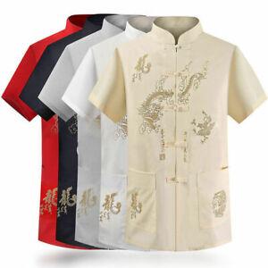 Mens Traditional Chinese Tang Suit Shirts Tops Wing Chun Kung Fu Tai Chi Uniform