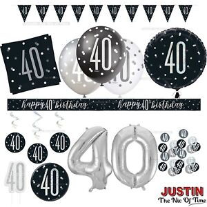 Black 40th Birthday Party Decorations Boys Mens Male Balloons Banners Age 40