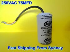 CD60 250VAC 75MFD (75uF) Air Conditioner Appliance Motor Capacitor With Wire NEW
