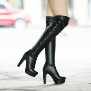 New Womens High Block Heel Platform Pull on Over Knee High Boots Clubwear Shoes