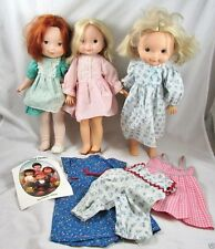 "3 My Friend Mandy Becky Dolls 16"" Fisher Price Vinyl Cloth Vintage 1970s Clothes"