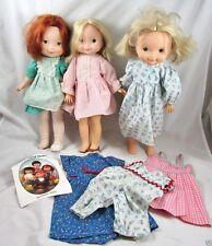 "3 My Friend Mandy Becky Dolls 16"" Fisher Price Vinyl Cloth Vintage 1970s Clothes"