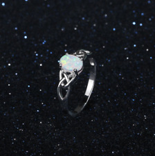 Size 7 Celtic Design White Opal Ring, 925 Sterling Silver, Christmas Gift, Boxed